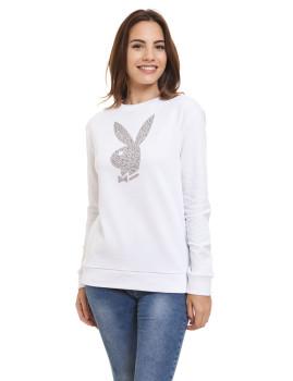 Sweatshirt Cropped Logo Orelhas Coelho Playboy Branco