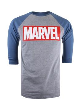 Long Sleeve Marvel Homem Logo Cinza e Azul