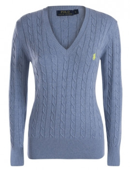 Pullover Entrançado Ralph Lauren V Senhora Azul Mesclado