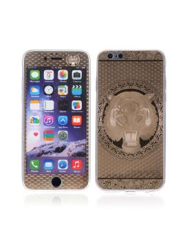 2 In 1 Vidro Temperado + Capa De Gel Aluminio Tigre Dourado Iphone 6 Dourado