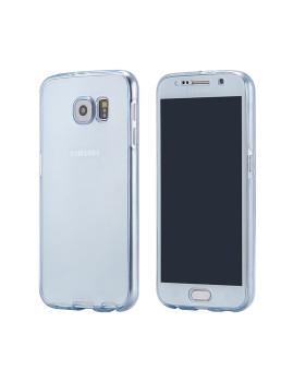 Capa Azul de Silicone Frontal + Traseira Para Samsung S7 Azul