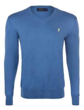 Pullover Ralph Lauren decote em V Azul Escuro e Amarelo Homem