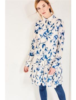Vestido SHOT Padrão floral azul e branco Ref 129