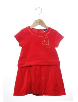 Vestido Mini Girandola Encarnado Veludo Ref. 7