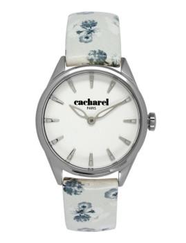 Relógio Cacharel Branco com Flores Branco e Azul