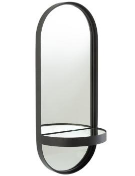 imagem de espelho Oval + Prateleira em Cristal e Ferro Preto1