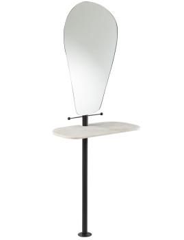 imagem de espelho + estante de Mármore e Ferro Preto1