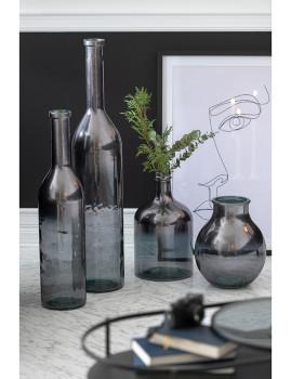 imagem de Vaso Pequeno de Garrafa de Cristal Metálico Cinza 2