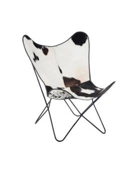 imagem de Cadeira de Sala Pele de Vaca Branco e Preto1