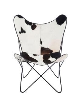 imagem de Cadeira de Sala Pele de Vaca Branco e Preto2