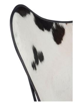 imagem de Cadeira de Sala Pele de Vaca Branco e Preto6