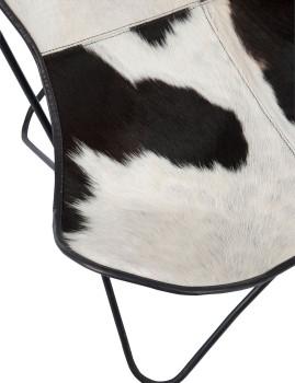 imagem de Cadeira de Sala Pele de Vaca Branco e Preto7