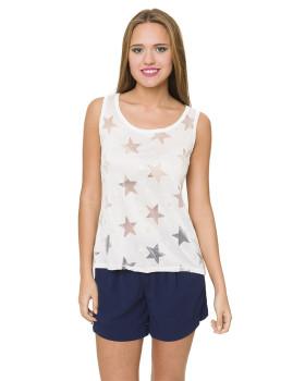 Top Azura Branco com Estrelas