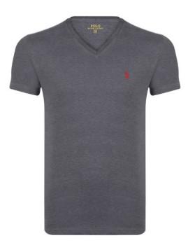 T-Shirt Ralph Lauren Decote Em V Antracite Homem