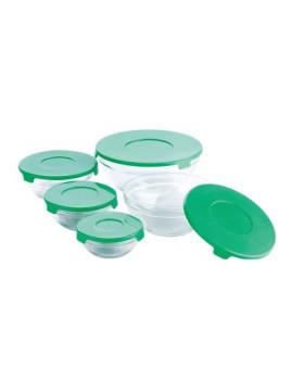Conjunto de 5 Recipientes de Vidro Verde