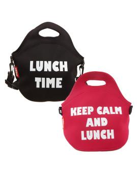 Set de 2 bolsas porta-alimentos de Neopreno. Reutilizável . 30 x 30 x 17 cms. vermelho  e Preto