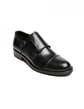 Sapato British Passport Toe Cap Monk Strap Preto