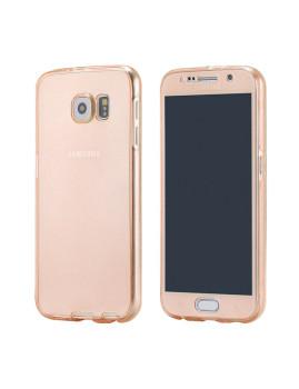 Capa Silicone Dianteira + Traseira Samsung S7 Edge Dourado Rosa