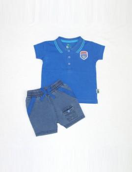 Polo e Calções (Jeans) Azul e Verde