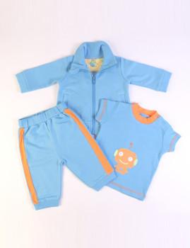 Fato De Treino (Casaco, T-Shirt e Calças) Azul e Laranja