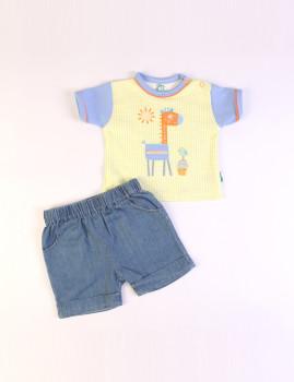 T-Shirt e Calções (Jeans) Azul e Lima