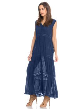 Vestido Comprido Azul Navy de Renda com Botões