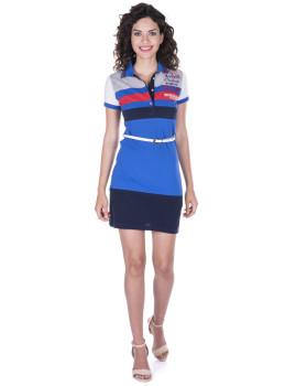 Vestido de Senhora Manga curta Giorgio di Mare Azul Sax