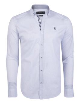 Camisa Sir Raymond Taylor Caddy Branco-Azul Navy-Azul Sax