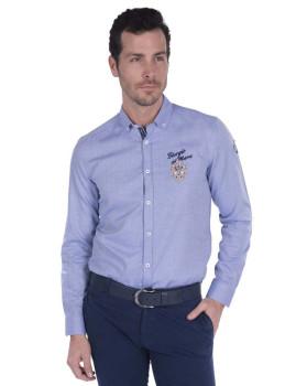 Camisa Oxford Giorgio di Mare Azul Sax