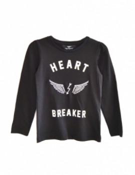 Longsleeve Miguel Vieira Kids Menina Heart Breaker Preta