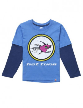 Long Sleeve Hot Tuna Logo Turquesa e Azul Navy