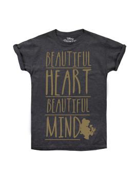 T-shirt Disney Senhora Beautiful Heart Beautiful Mind Cinzenta