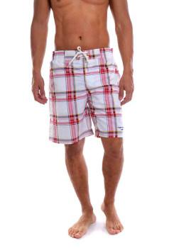 Calções de Banho Casual Surf Throttleman Homem Branco e Vermelho