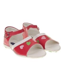 Sandálias  Vermelhas c/Bordado Corações Campanilla