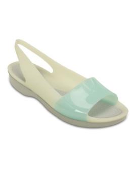 Sandália Crocs ColorBlock Flat Azul Claro e Branco Pérola