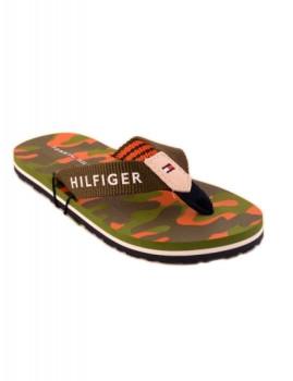 Chinelos Flipper Padrão Militar Verde e Castanho