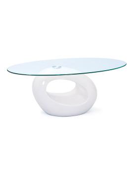 Mesa de Apoio em fibra de Vidro Branco e lucido e Vidro temperado