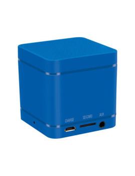 Cubo compacto com som intenso. Desfrute da sua música e atenda as suas chamadas sem fios a partir de qualquer aparelho Bluetooth! Cor Azul.