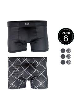 Set 6 Boxers MARGINAL Preto+Quadrados