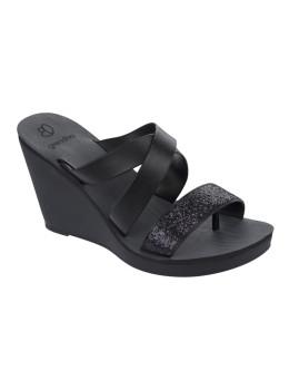 Sandálias de cunha Grendha Paradiso II Plat Preto