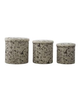 Conjunto 3 Caixas Redondas Paris 44X44 - 38X38 - 34X34 cm