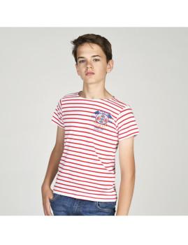 T-Shirt Marengo Criança Branco/Vermelho