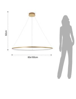 imagem de Candeeiro de Suspensão Oval Ring Dourado4
