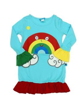 Vestido De Menina Rinbow Cloud Azul Celeste