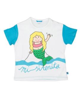 T-Shirt De Menina Sirenita Branco