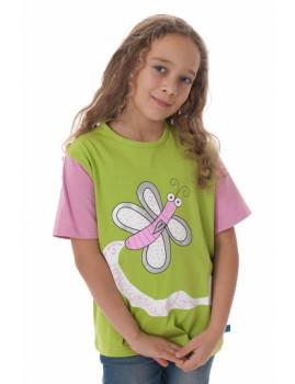 T-Shirt De Menina Mariposa Verde