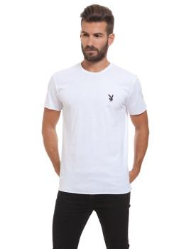 T-Shirt Destroyed Silk-Padrão Coelho Playboy Branco