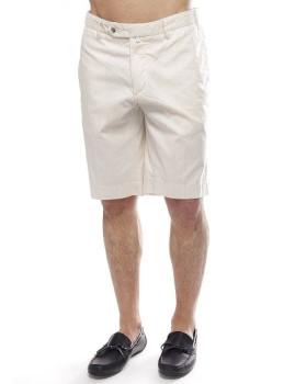 Calções Hackett Cott Lin Stripe Short Branco e Nude