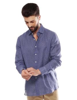 Camisa Hackett Mayf Linen Paisley Azul e Branco