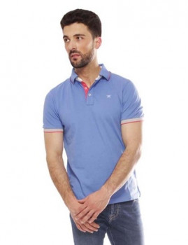 Polo Hackett Multicolor Col Trim Azul